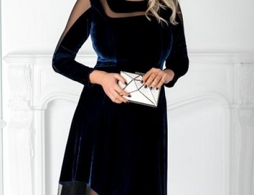 Rochie de seară asimetrică Eliza GBNw2 din catifea cu inserții din tull, bleumarin