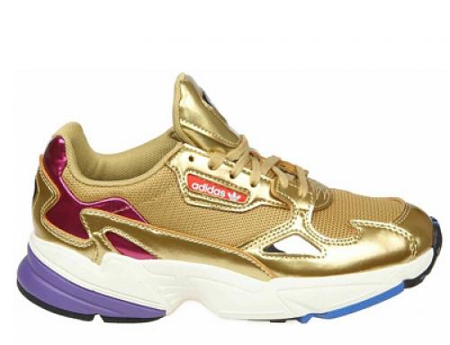 Pantofi sport de damă Adidas Originals Falcon aurii aspect metalizat