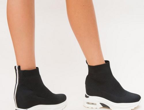 Pantofi sport de damă înalți Rotex HTRQ negri cu talpă groasă