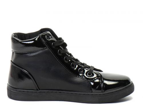 Pantofi sport damă negri OMS by Original Marines JHRw înalți cu talpă plată