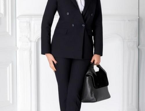 Costum damă office bleumarin Beck GBV32 cu pantaloni, umeri buretați și sacou clasic