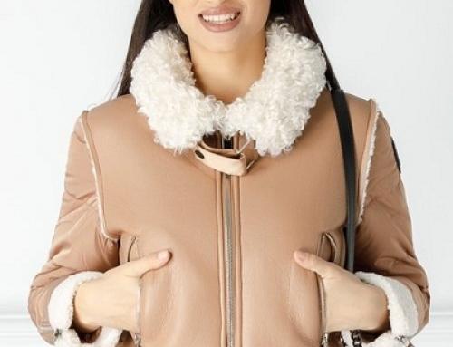 Jachetă de damă scurtă maro Vivi HNDC-5D cu blană și croială dreaptă