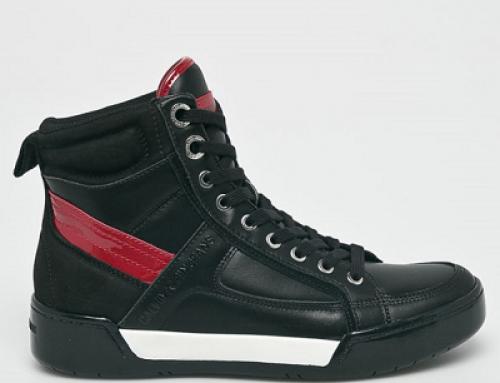 Ghete sport bărbați Calvin Klein Jeans VQ5TE din piele naurală, negre