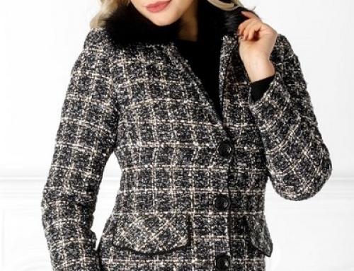 Jachetă damă scurtă LaDonna DW8UWQ în carouri cu blană detașabilă