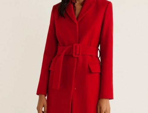 Palton damă roșu Mango Vito HEWQA3 din lână, cu curea în talie