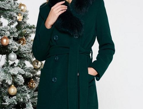 Palton damă din lână LaDonna LW8GE verde cu guler cu blană
