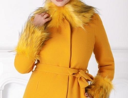 Palton damă elegant scurt LaDonna JW7FR galben muștar cu blană la guler