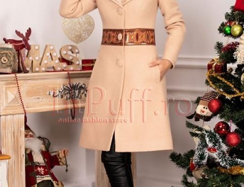Palton damă elegant din lână Roja FEW8F cu fir 3D, cu paiete la brâu