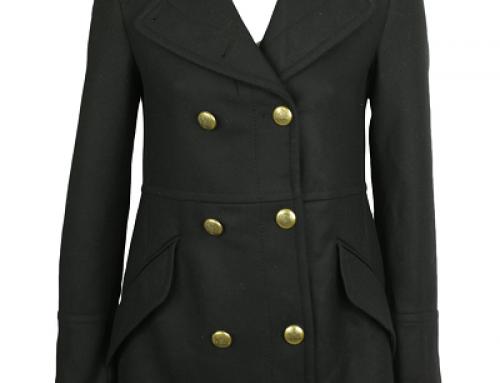 Palton de damă negru Zara Otis JKLFW7 cu nasturi aurii,  din lână