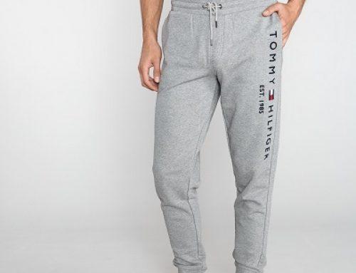 Pantaloni sport bărbați Tommy Hilfiger W0838 gri din bumbac
