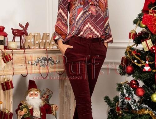 Pantaloni damă din catifea cu talie înaltă Ruby GIEW6 grena, din bumbac