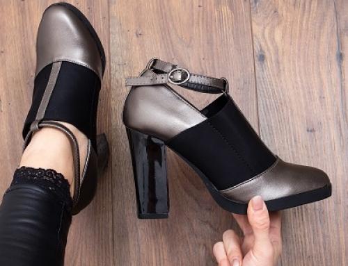 Pantofi damă cu toc înalt Zahava GPW6FE și cu cataramă metalică, gri
