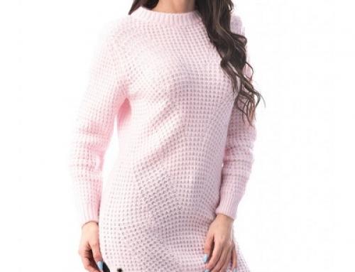 Pulover de damă tricotat roz Nicola HNF4DE cu crăpături laterale, accesorizat cu nituri