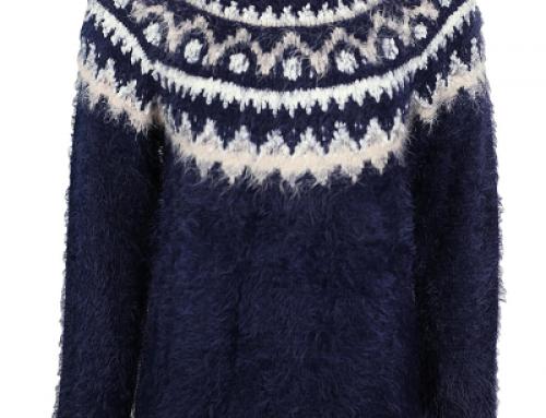 Pulover de damă pufos Reserved Vera WSuR5 albastru cu model