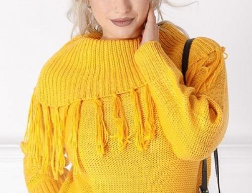 Pulover damă elegant Lola HW7Se2 galben cu ciucuri și croială lejeră