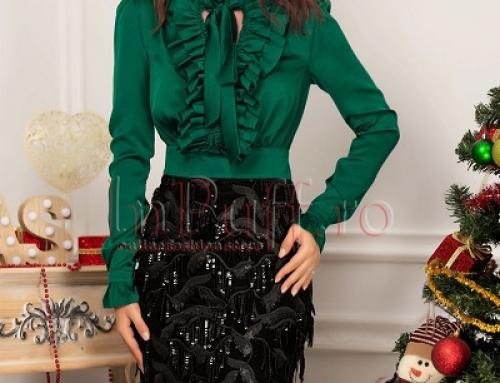 Rochie de seară cu paiete Ella SQ8PW verde cu voal satinat, conică