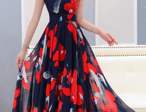 Rochie elegantă cu imprimeu floral Beatrice DFGE3W cu decolteu în V
