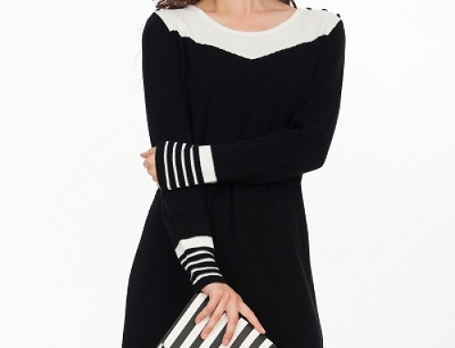 Rochie office neagră Chess HLEW3 tricotată, dreaptă cu mâneci lungi