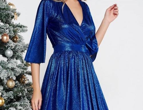 Rochie de seară Starshiners FW6hTW albastru lucios, în cloș, decolteu V