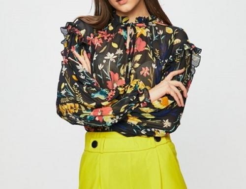 Bluză de damă Only JWPQ8D lejeră cu imprimeu floral și umerii lăsați, neagră