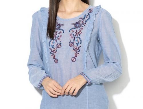 Bluză damă EDC by Esprit NJKUW tip tunică cu broderie florală, din bumbac