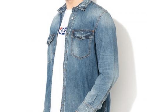 Cămașă bărbați Diesel Rookie HN6FY casual din denim cu buzunare la piept, albastră