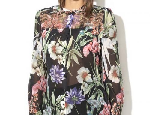 Cămașă damă Guess Jeans HNJN4DE vaporoasă cu imprimeu floral și dantelă