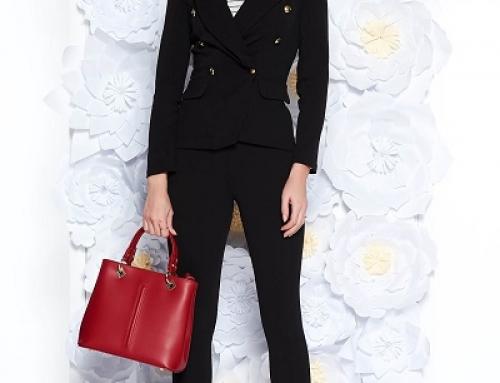 Costum damă office SunShine LKU5DW negru cambrat cu pantaloni conici