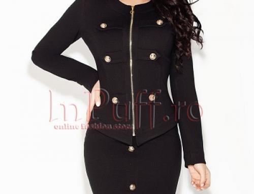 Costum damă elegant negru Sophia FWPQ4A cu sacou și fustă, cu nasturi aurii