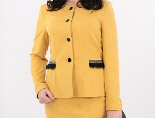 Costum damă office galben muștar Olivia HYTWQ cu fustă conică și blană decorativă