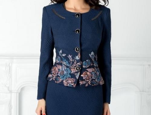 Costum damă office Aiana FWY4SW cu rochie conică, cu imprimeu floral, bleumarin