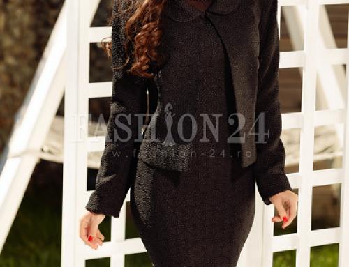 Costum damă elegant Milley JDUWQ negru cambrat cu rochie și sacou