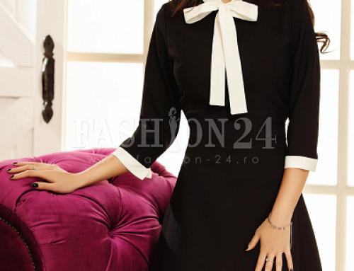 Rochie office neagră Eliza UWH34W în cloș și cu fundiță albă, mâneci 3/4