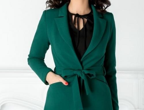 Sacou damă elegant verde Moze HLDFGW cu rever ascuțit și curea în talie