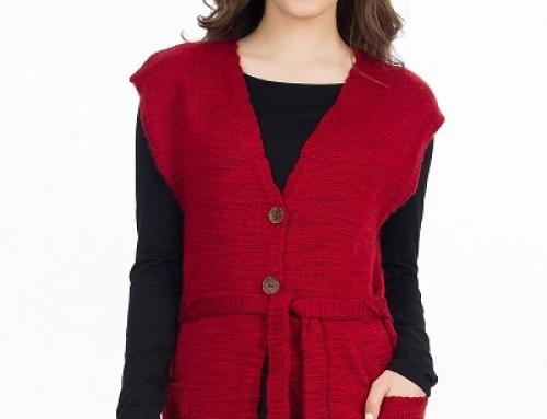 Vestă de damă roșie Catrice GNFV6D din lână cu cordon în talie, din tricot