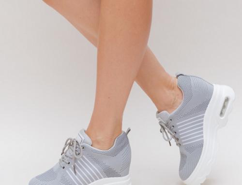 Pantofi sport de damă Adena GLYhE3 cu platformă, gri, din material textil