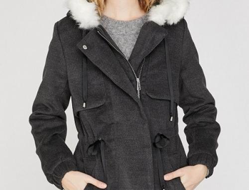Jachetă de damă Parka KOTON JKD3DW cu glugă și blană sintetică, regular fit