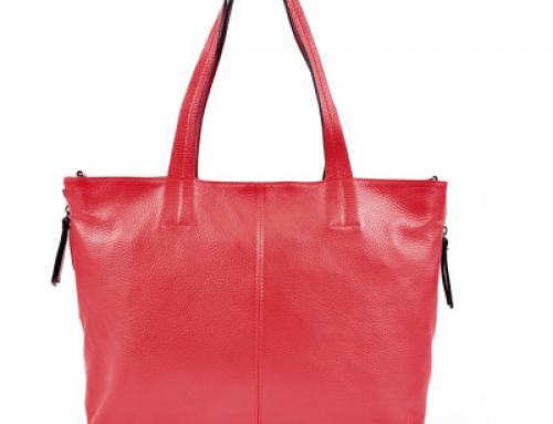 Geantă de damă roșie Roberta M, Model SS19 RM 1264 din piele naturală, Shopper