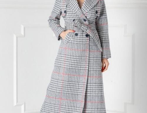 Palton de damă elegant lung Class HJEWQA cu imprimeu în carouri, cu cordon în talie