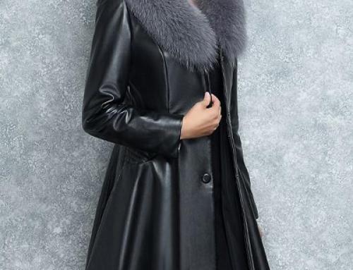 Palton damă negru Lorenna GBFVW din piele ecologică și cu blană artificială