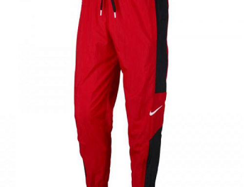 Pantaloni de trening bărbați Nike Woven Basketball roșii cu șnur în talie