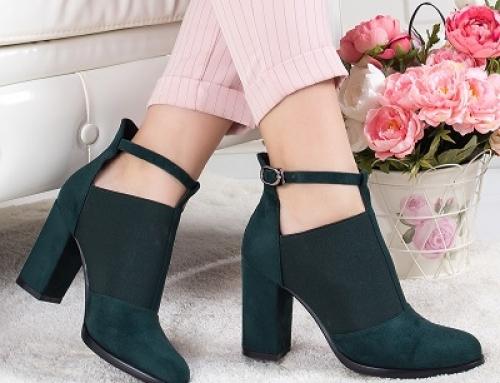 Pantofi de damă eleganți Resami HKLW3WQ verzi cu toc gros și baretă pe picior