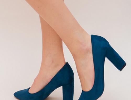 Pantofi de damă eleganți Dundy ZWOyRE albaștri cu toc gros, piele eco întoarsă
