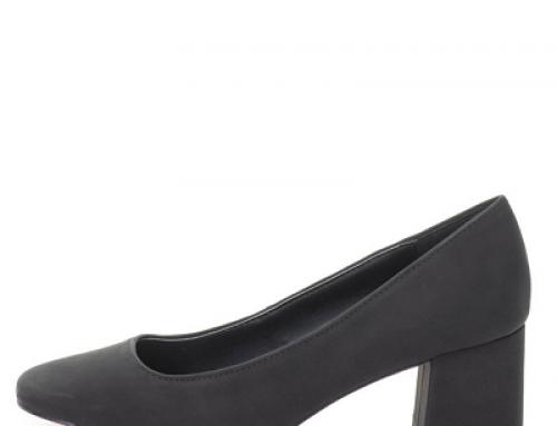 Pantofi de damă office negri Esprit WPYH6W cu toc masiv și vârf pătrat