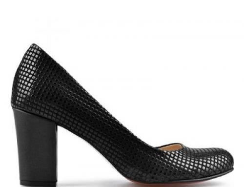Pantofi de damă office negri Kadisha JMNB7 cu toc gros și model decorativ