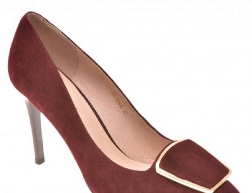 Pantofi de damă office Epica JUDWEC vișinii din piele întoarsă cu toc subțire