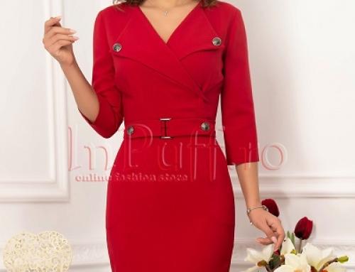 Rochie office roșie Bonnie VFR4E conică cu mâneci 3/4 și nasturi la bust