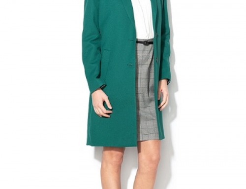 Trenci de damă office Esprit HKRFWQ verde cu revere regular fit