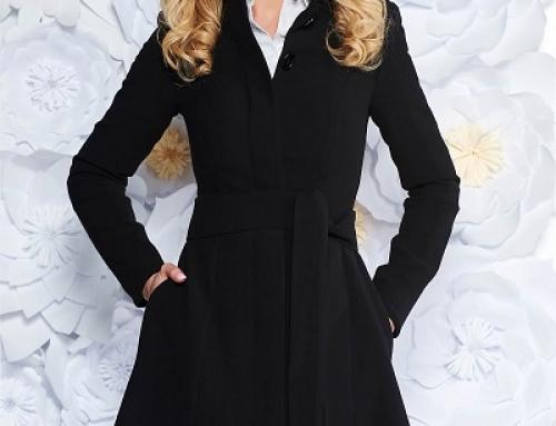 Trenci damă elegant-office Artista GBRWQ8W negru cu cordon în talie, ușor elastic