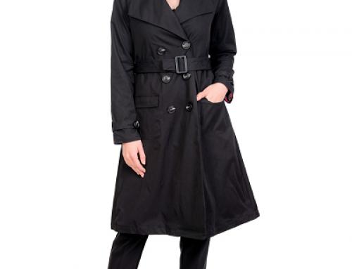 Trenci damă elegant din bumbac Salma HNJM6T negru cu cordon detașabil